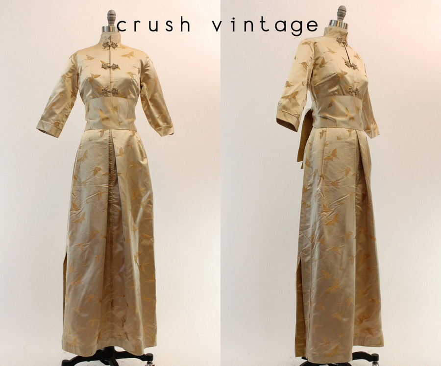 1960s deadstock Dynasty silk brocade dress xs | vintage butterfly asian obi gown