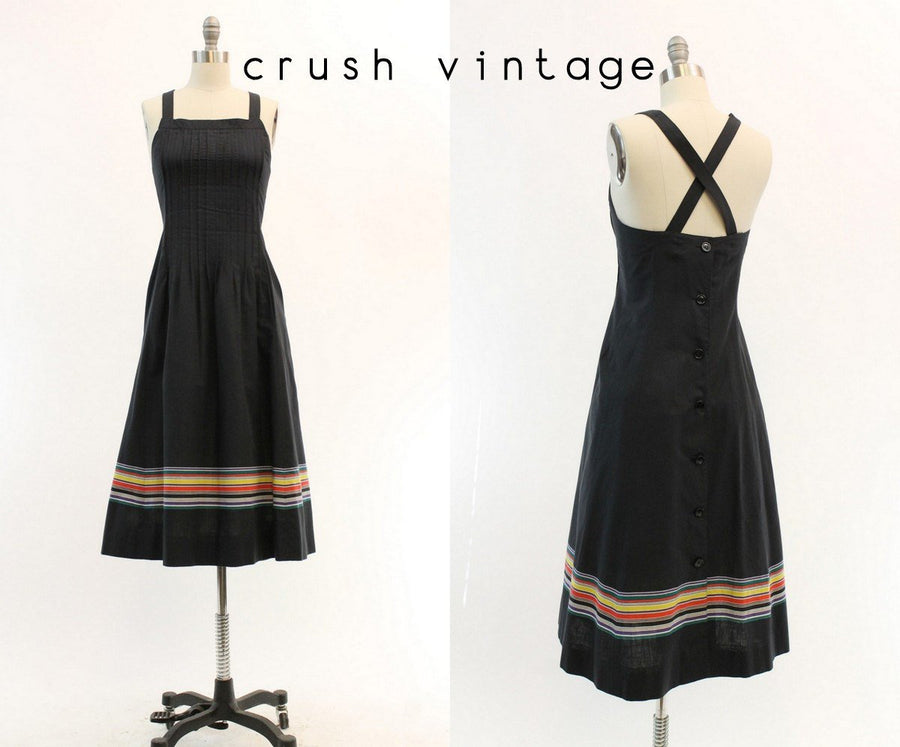 1980s Nipon Boutique cotton sun dress small | vintage strappy back striped dress