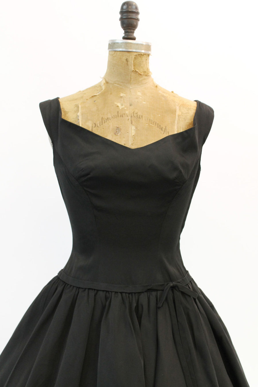 1950s black taffeta double tiered full skirt dress | xs |  vintage party dress