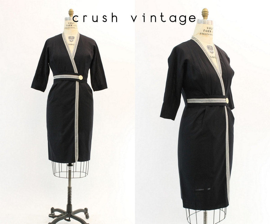 1950s Dorothy O'Hara dress medium | vintage linen wrap dress