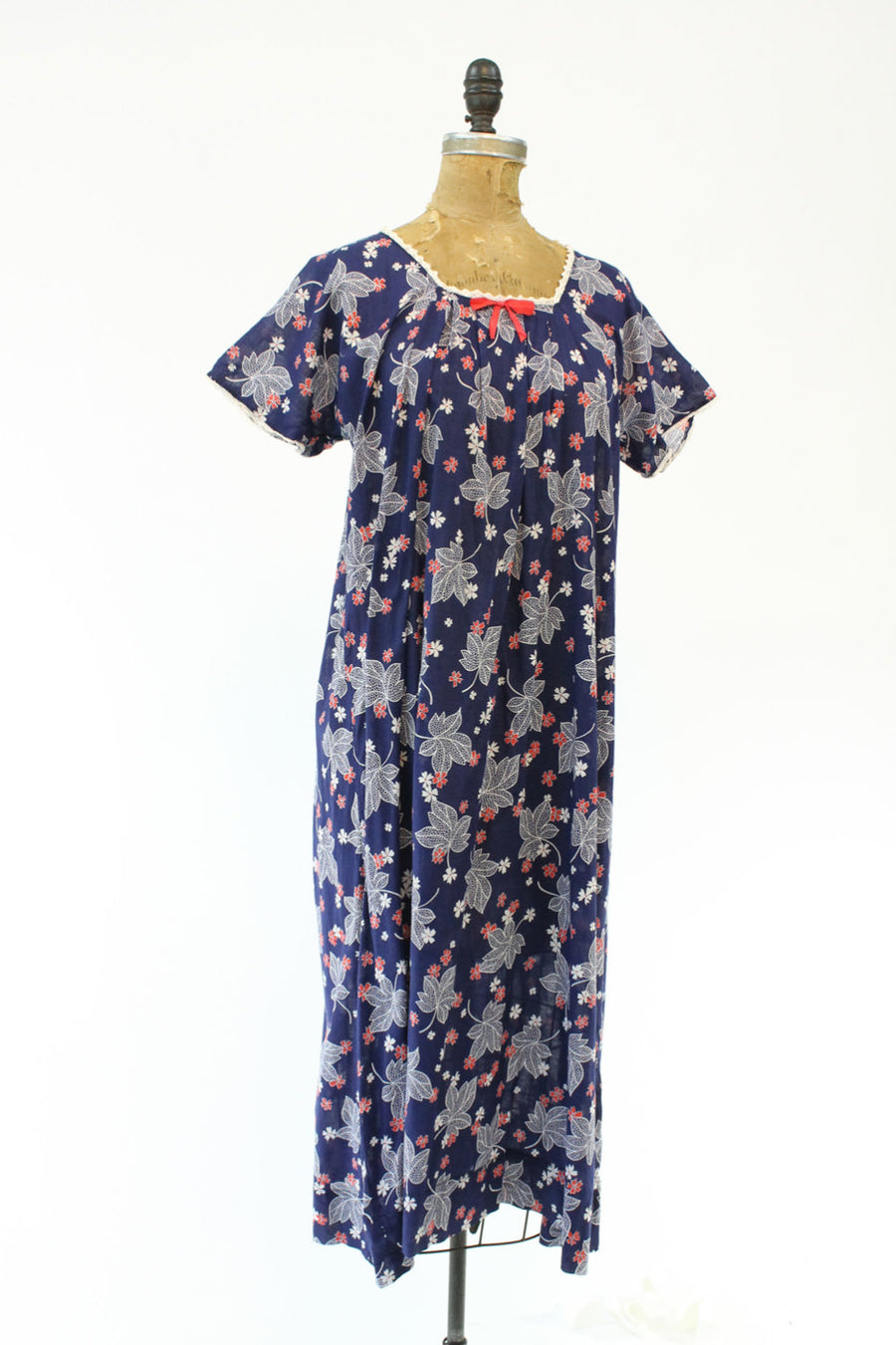 1930s leaf novelty print dress large | vintage cotton dress | new in