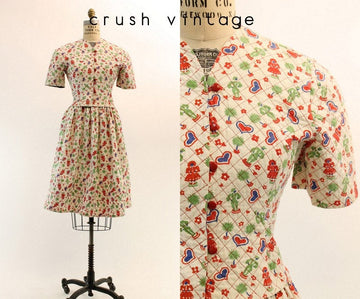 1950s quilted novelty print top and skirt small | vintage heart print dress | new in