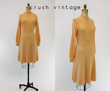 1970s St. John Knit dress | vintage crochet sweater dress | small - medium