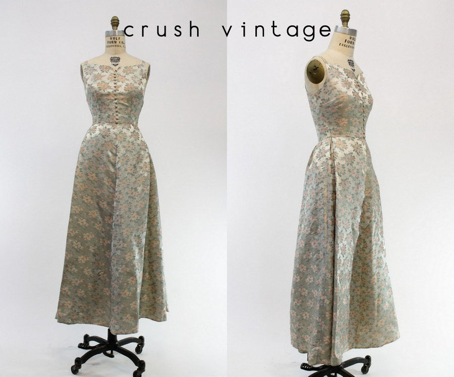 1950s rose brocade dress | xs | party gown