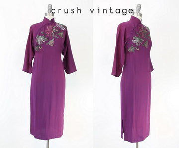 1940s sequin dress cheongsam | vintage purple rayon beaded qi pao | small