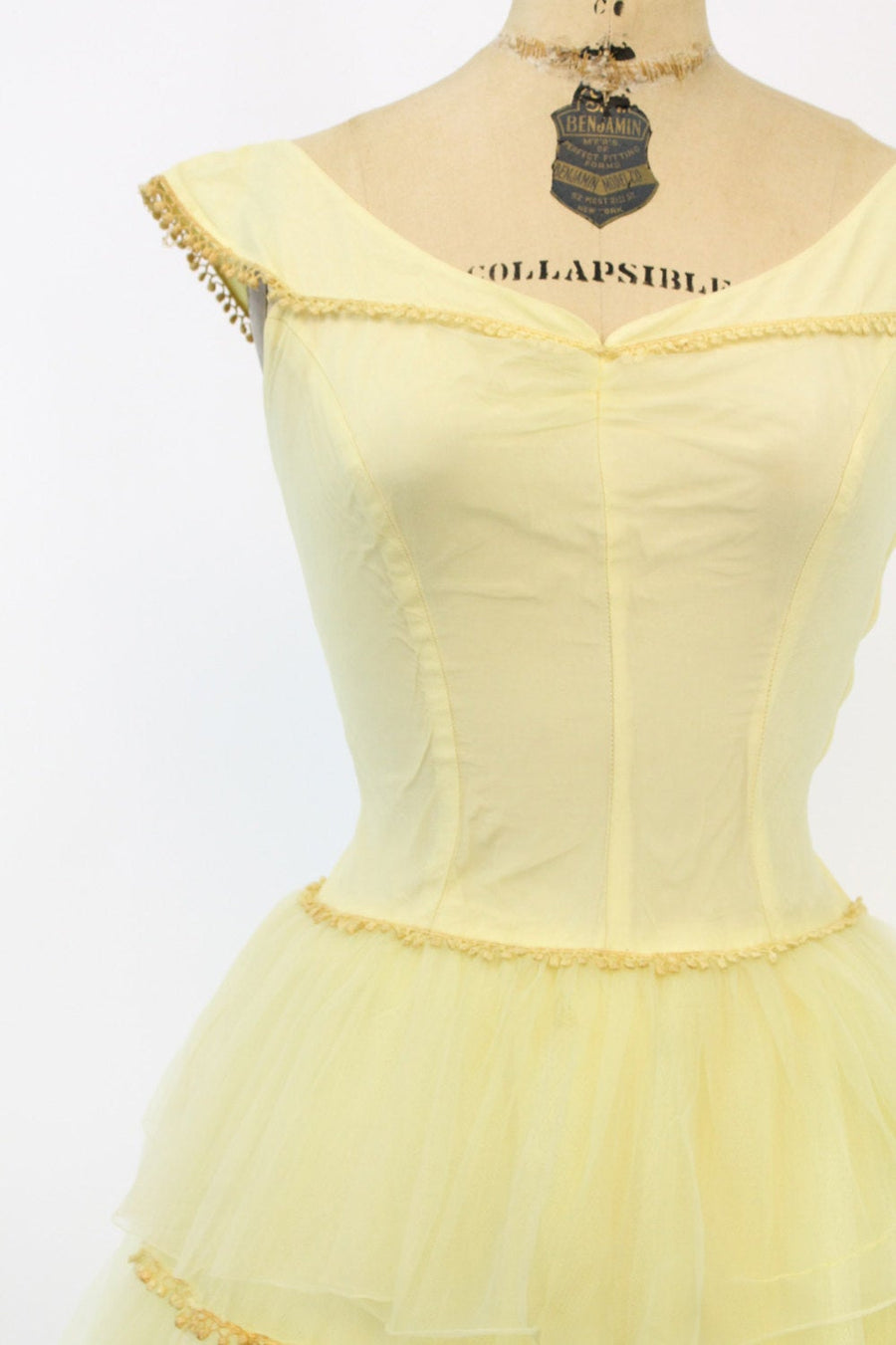 1940s yellow chiffon tiered dress xs | vintage party cupcake dress | new in