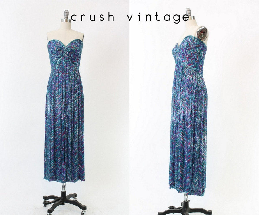 1980s Bob Mackie dress | silk beaded gown | xs