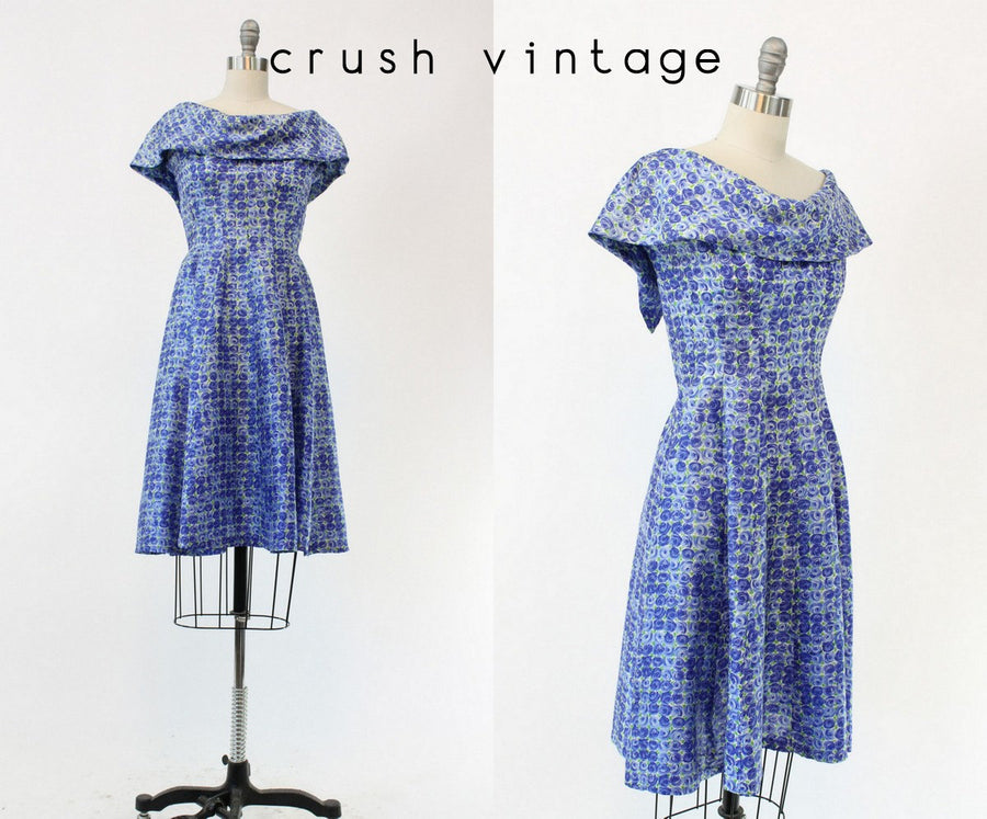 60s GiGi Young Dress XS / 1960s Floral Silk Juniors Capelet Frock / Blue Jay Dress