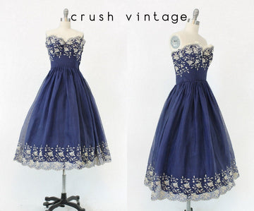 1950s embroidered strapless organza dress xs | vintage navy silk | new in