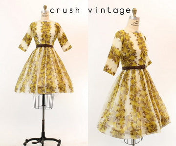 1950s organza dress | rose floral print | xs