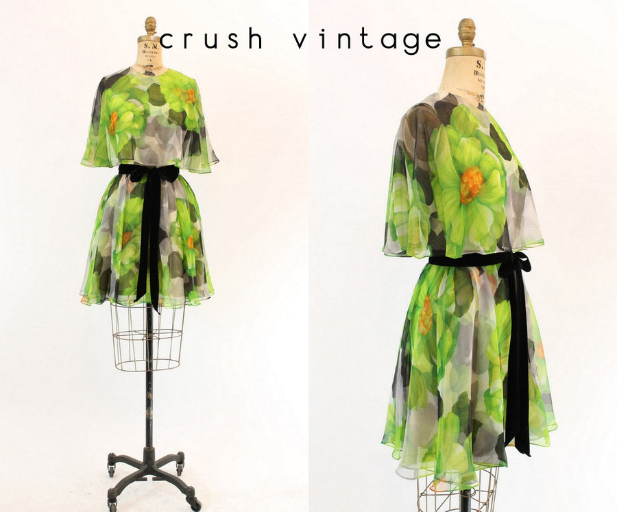 1960s Jack Bryan floral dress | vintage fluttery chiffon cape | small