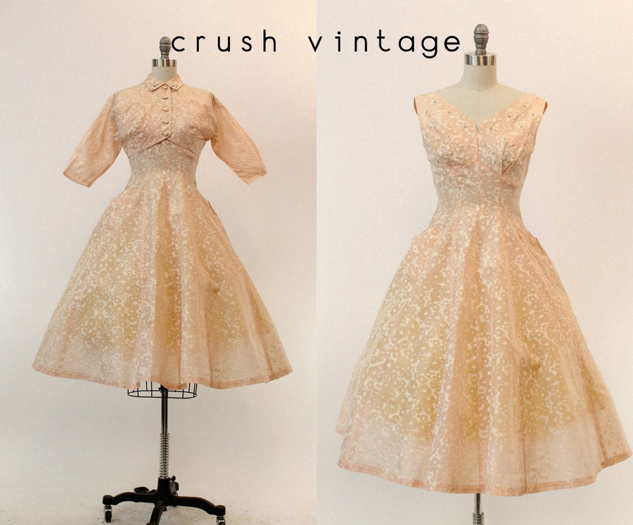 1950s rhinestone organza dress and bolero | vintage full skirt | new in