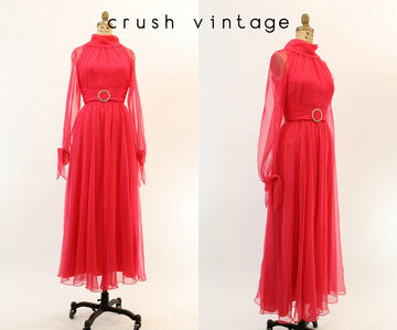 1960s chiffon dress small | vintage gown rhinestone sheer