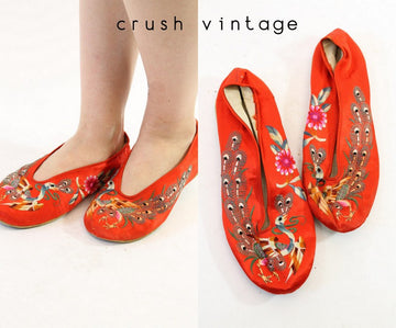 1950s asian embroidered satin peacock shoes size 6 us | vintage slippers