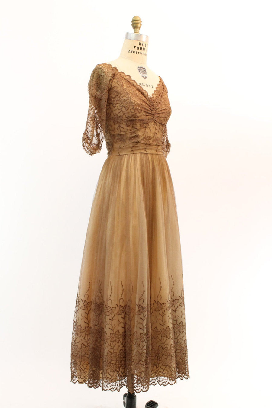1950s nude lace dress small  | vintage lace gown | new in