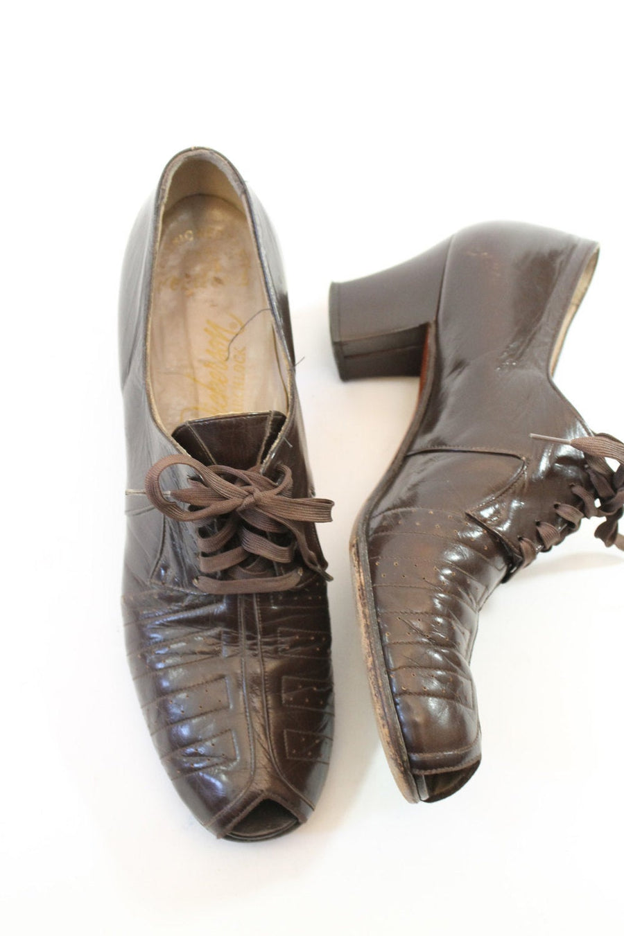 1930s oxford shoes | peeptoe laceup heels | size 7-7.5