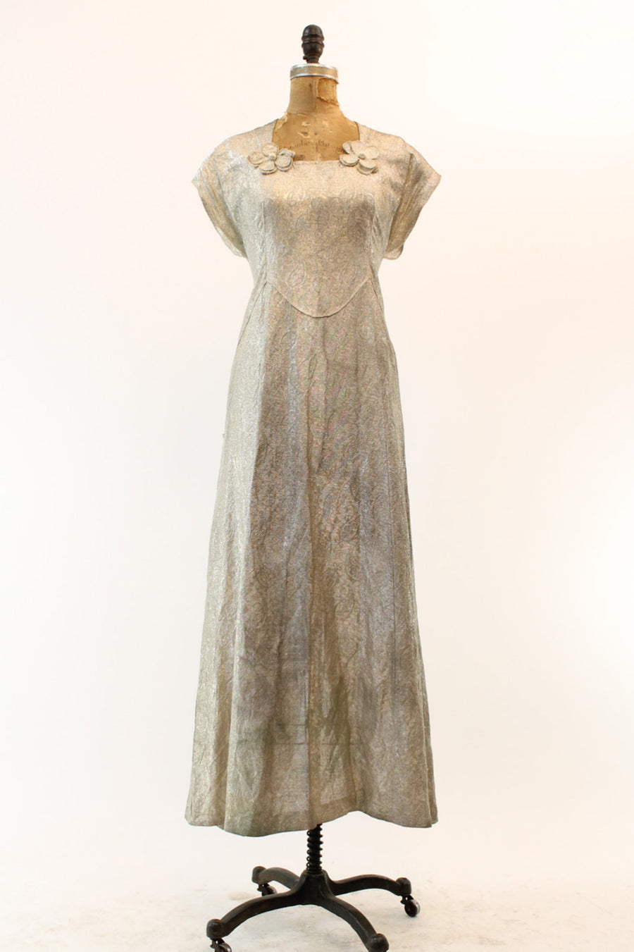 1930s silver metal lame dress small | metallic two piece slip and dress
