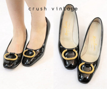 1960s patent leather pumps size 7.5 us | vintage gold buckle shoes