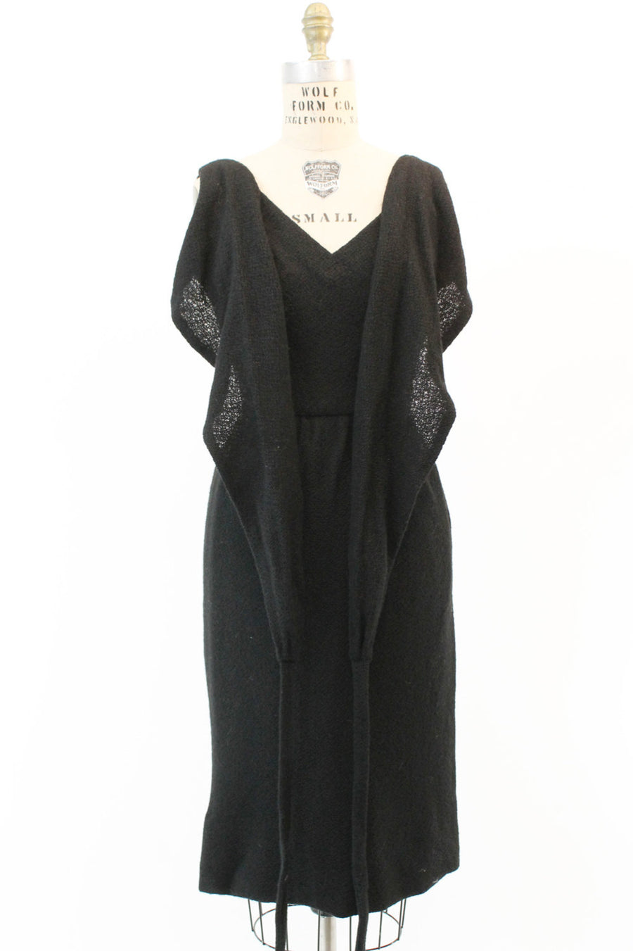 1950s Joseph Magnin wool wrap dress xs | vintage cinch waist dress
