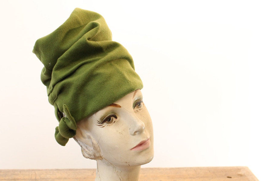 1940s turban hat | green wool | fold over