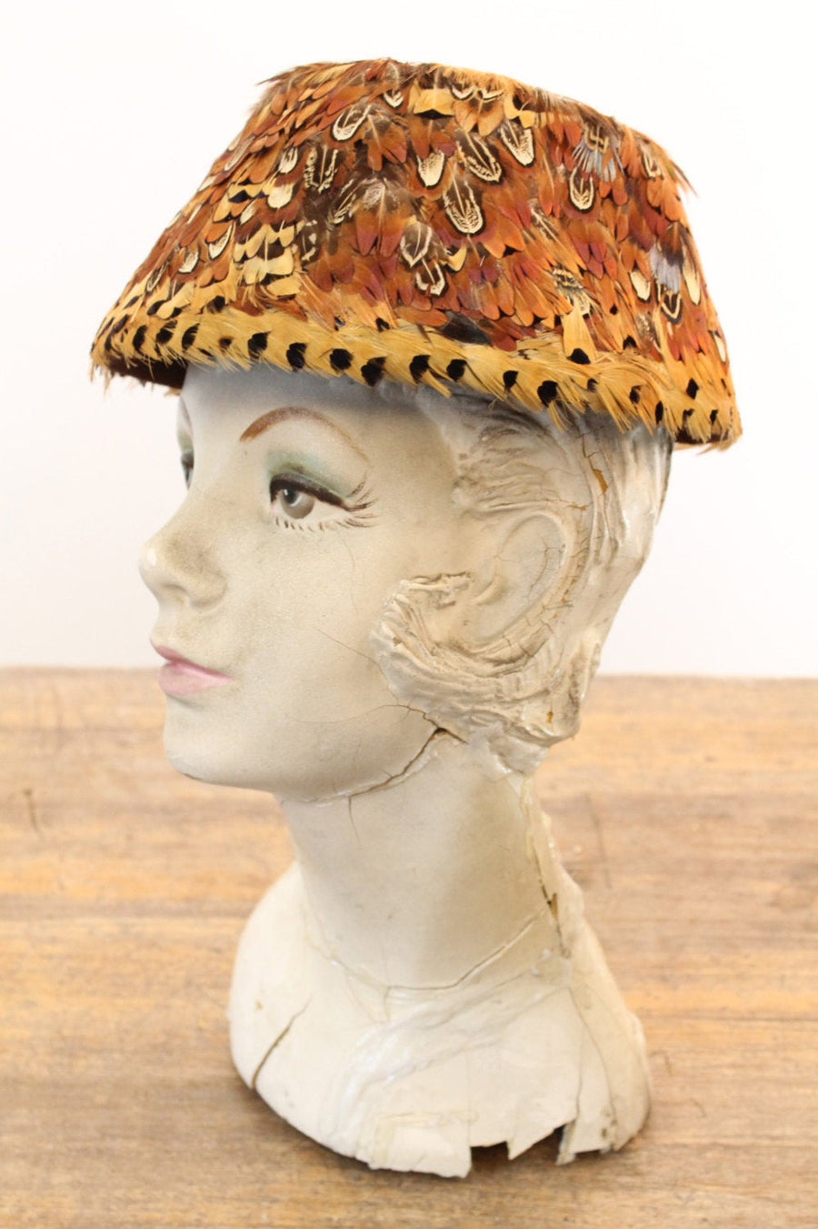 1950s feather hat | vintage pheasant pillbox