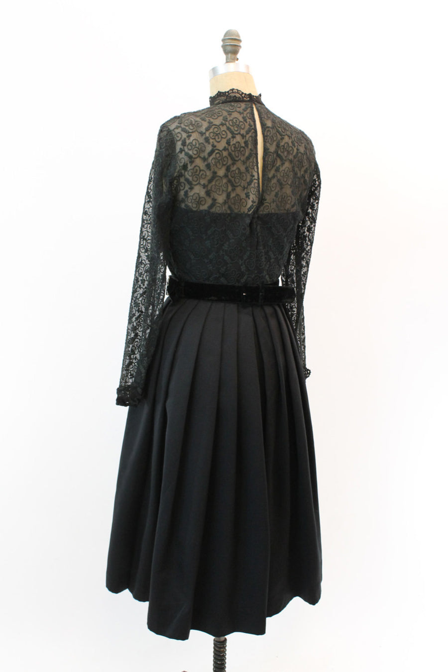 1950s embroidered lace dress | small | vintage black cocktail dress full skirt