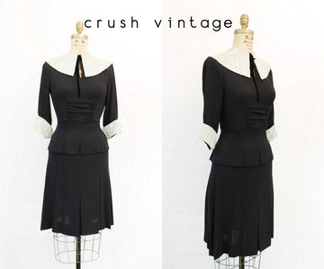 1940s peplum dress xs | vintage large collar rayon dress