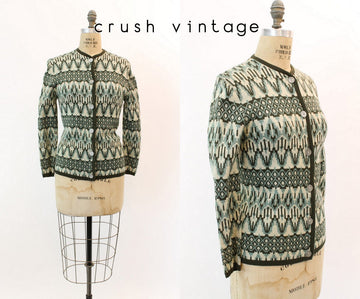 1960s knit Garland Jacquard cardigan  | xs small | vintage sweater