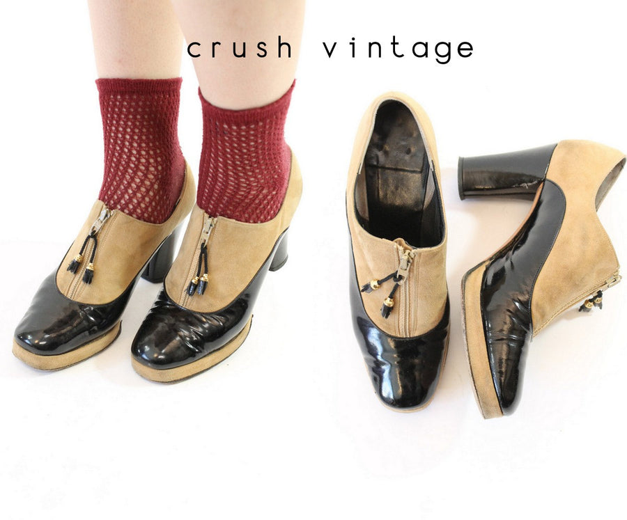 1940s zip front shoes |  Size 5 us | patent suede platforms