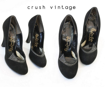 1950s velvet shoes size 4 us | vintage rhinestone pumps