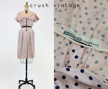 1940s Jacques Fath dress xs | vintage silk polka dot dress | new in