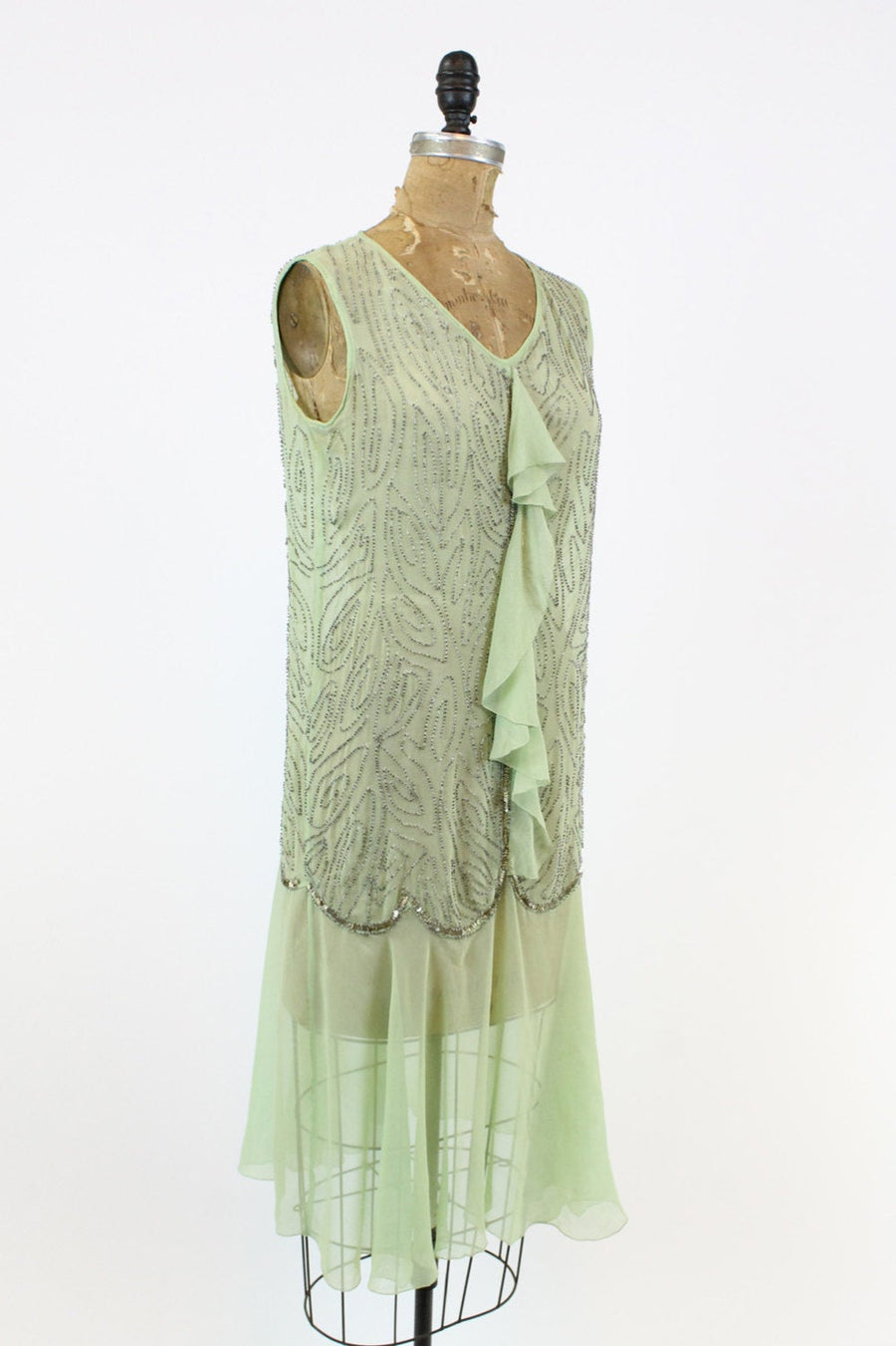 1920s mint chiffon beaded dress xs | vintage sequins dropwaist silk dress