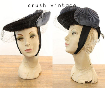 1940s tilt hat | fascinator fan | O'Connor Moffatt & Co