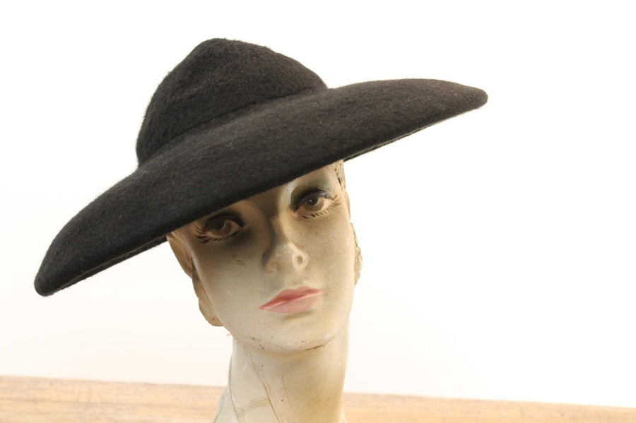 1950s picture hat | wool cartwheel tilt hat