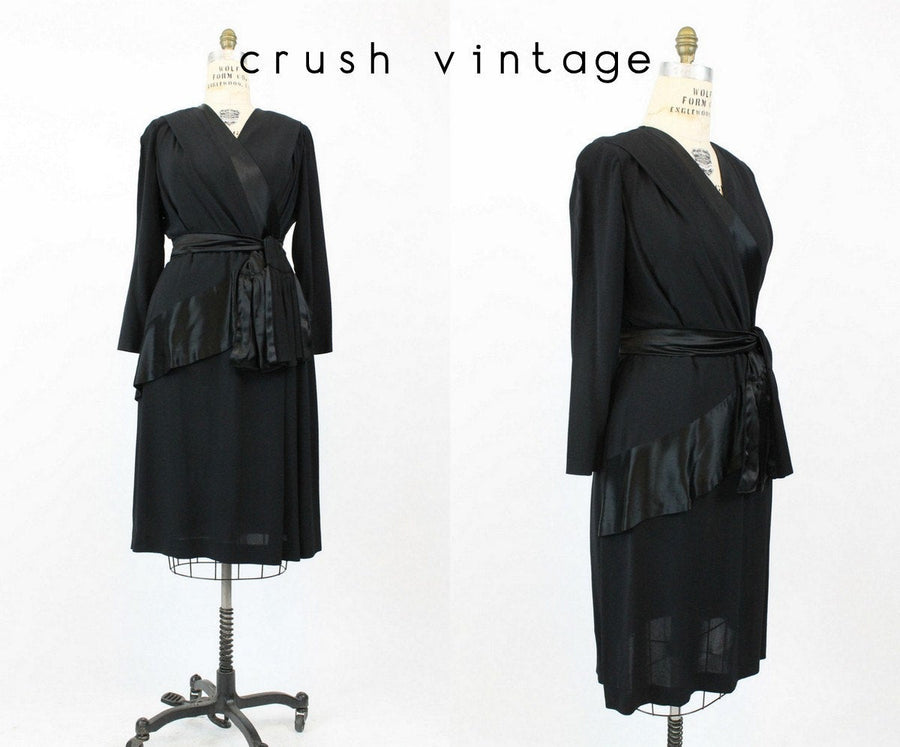 1940s peplum dress large volup | vintage rayon wrap dress