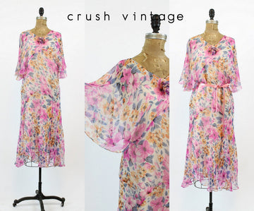 1920s silk floral dress medium | vintage flutter sleeve dress