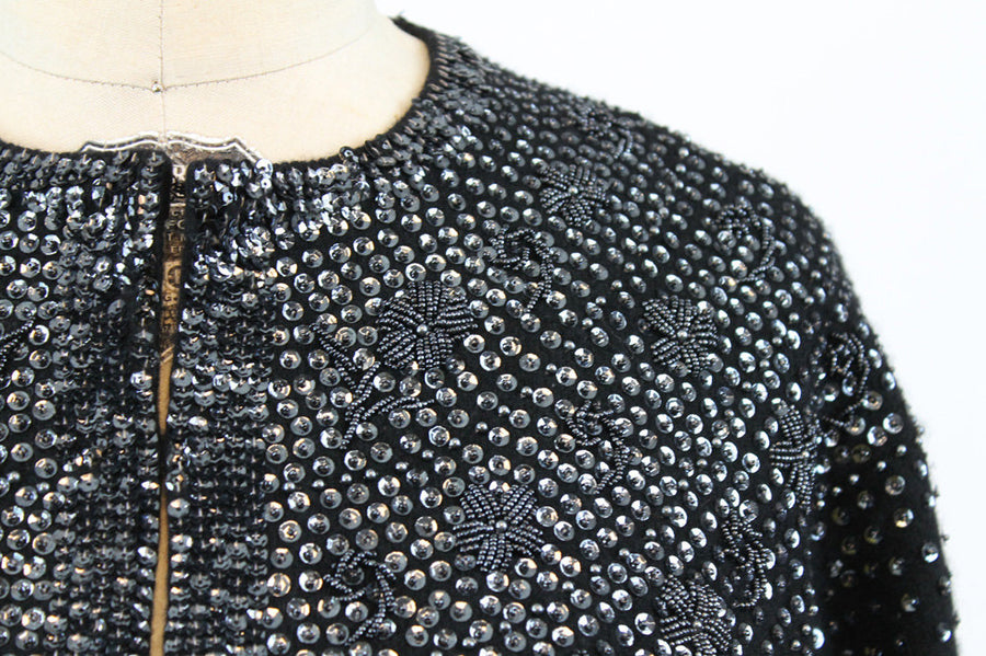 1960s beaded cardigan | vintage sequin wool sweater | medium- large