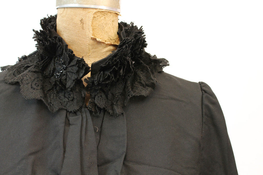 Victorian cape | silk fur fringe | antique Edwardian
