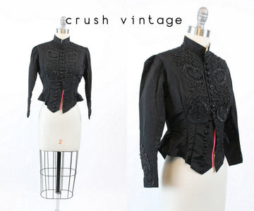 Edwardian silk tuxedo jacket xs | antique beaded jacket coat | new in