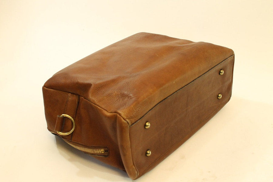60s Leather Large Luggage  / 1960s Leather Briefcase /  Trip to Morocco Travel Overnighter