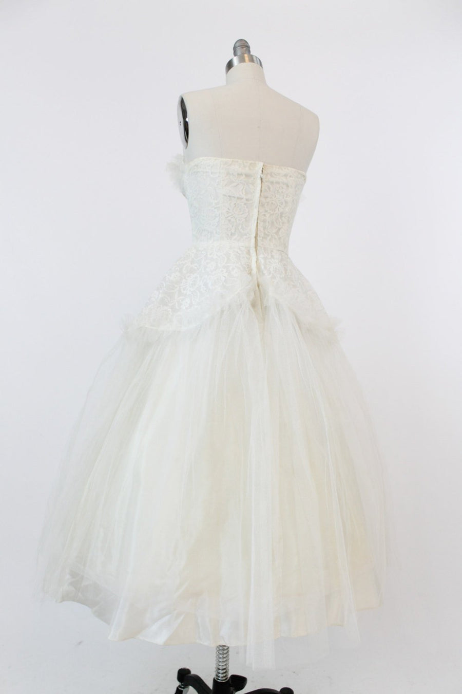 50s Wedding Dress XS / 1950s Vintage Dress Lace Tulle Strapless Gown / Midnight Gardenia Dress