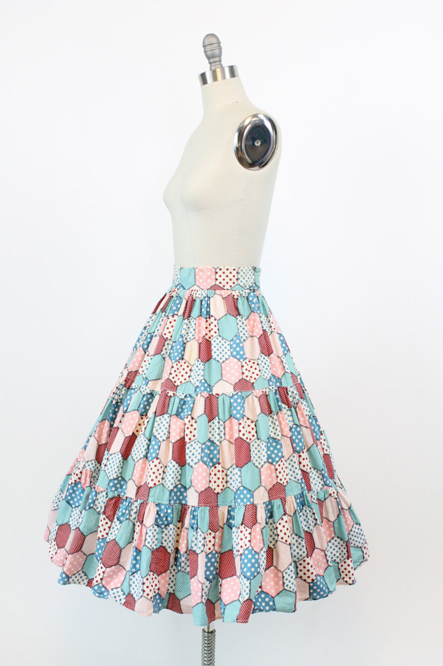 1950s patchwork polka dot skirt xs | vintage skirt | new in