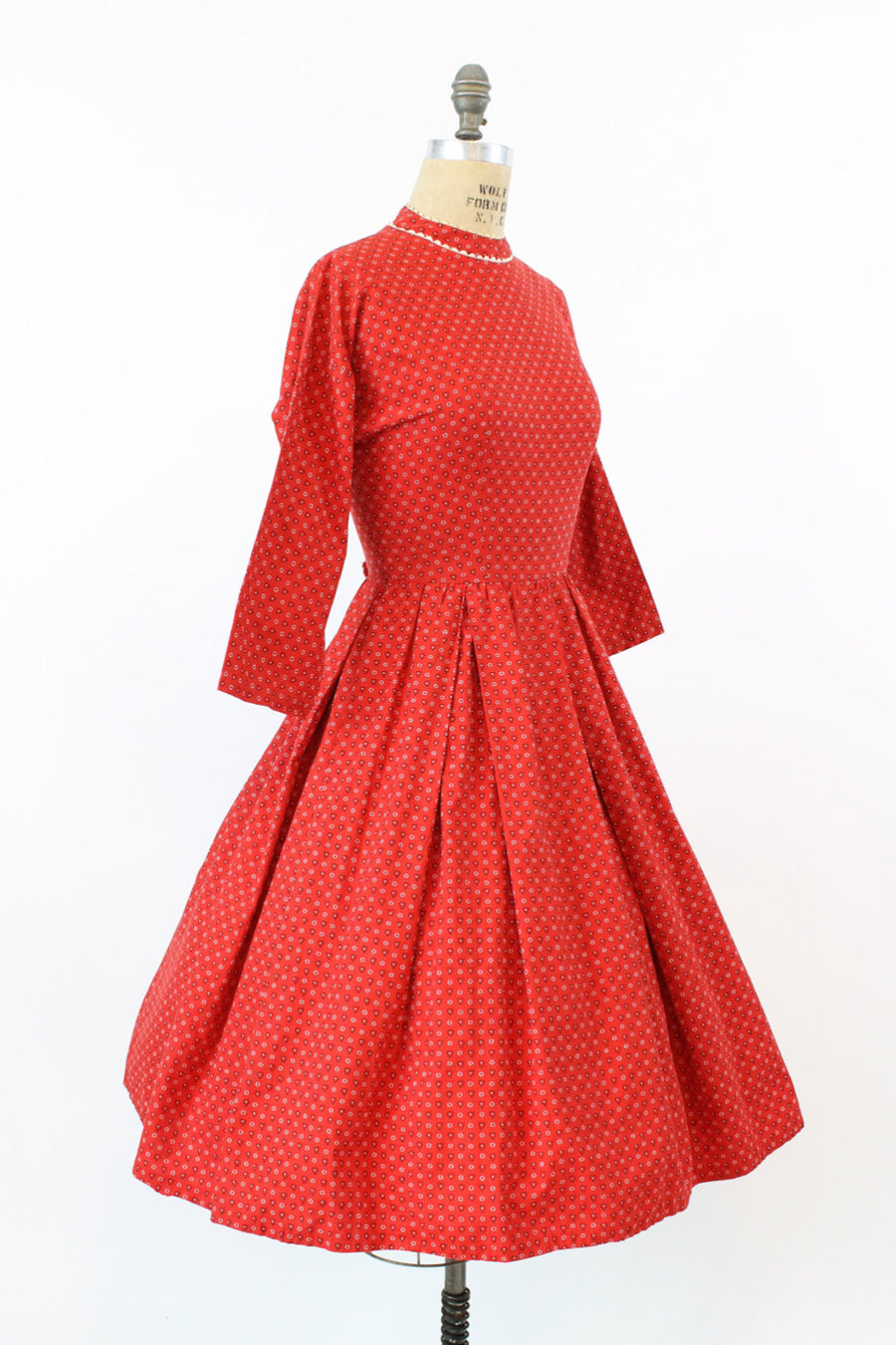 1950s LANZ dress | cotton heart print | small