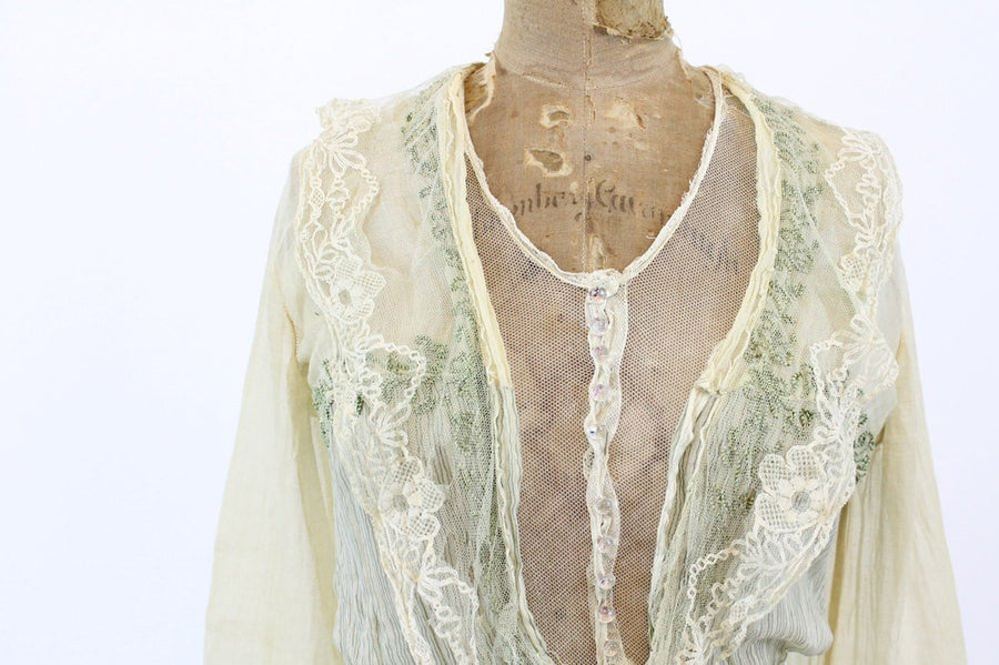 1910 edwardian cotton dress | antique lace and velvet dress | xs