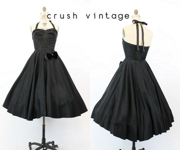 50s Halter Dress XS / 1950s Vintage Black Bow Applique Dress / Midnight Madness Dress