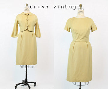 1960s maize silk dress and jacket medium | vintage dress set