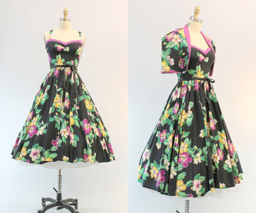 1970s does 1950s halter dress foxy lady | dress and bolero hawaiian | xs