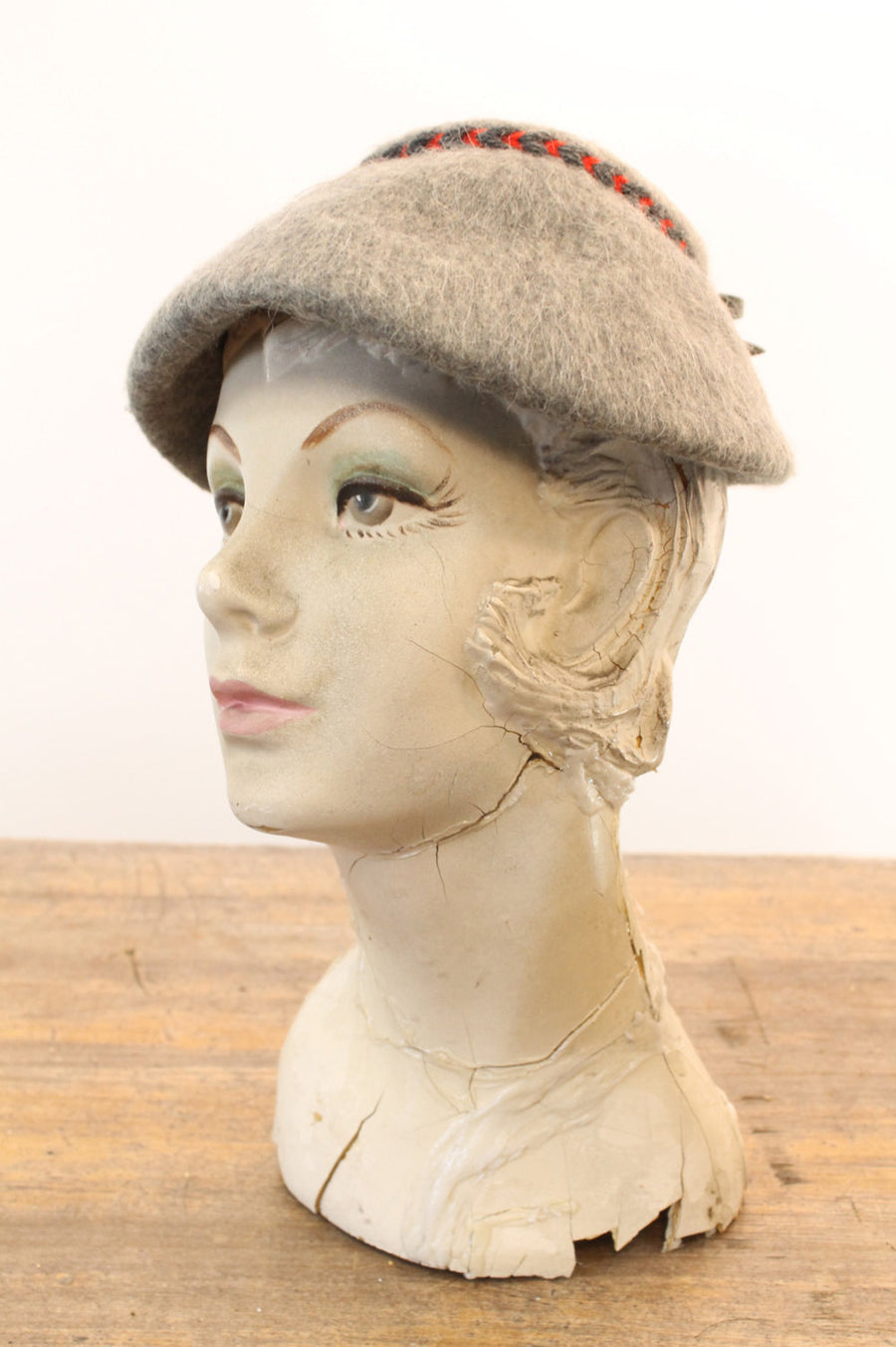 1940s mohair hat | braided trim | heater gray