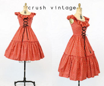 1950s corset lace up cotton dress xs | vintage floral print | new in