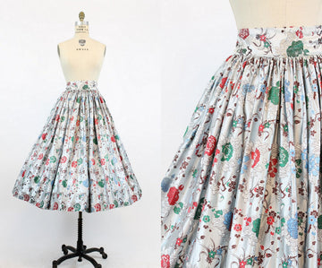 1950s brocade skirt | asian floral silk | small